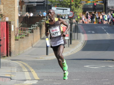 Mark Kibiwott leads the men's race in Hackney