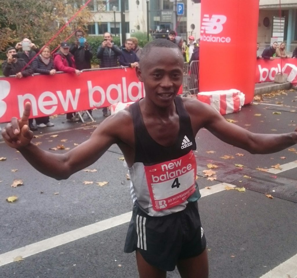 Morris Gachaga celebrates his 4th win of 2016 at the Semi-Marathon de Boulogne-Billancourt in Paris on Sunday.